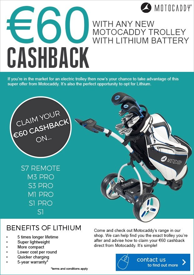 Motocaddy €60 Cashback with a lithum trolley